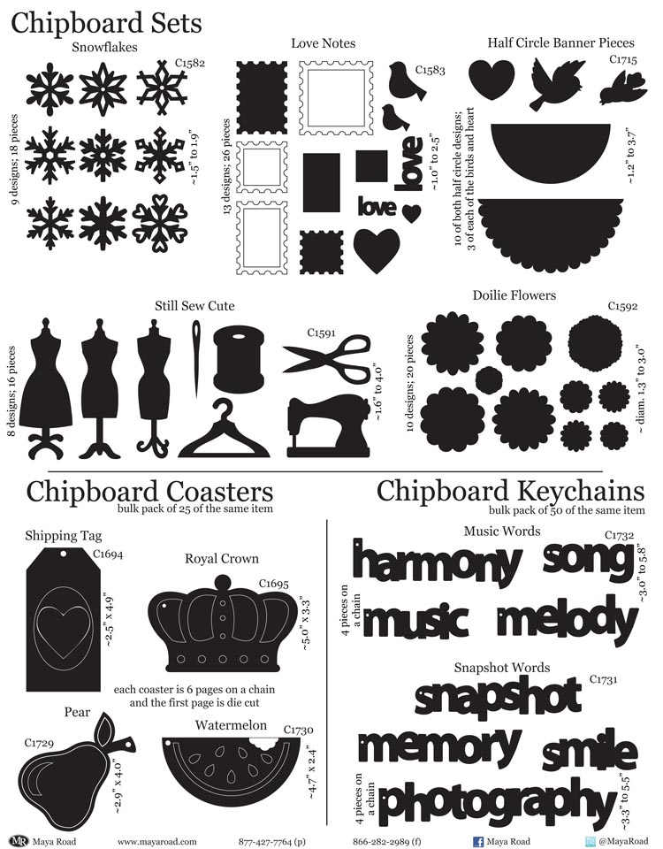 2B - Chipboard Sets & Coasters & Keychains
