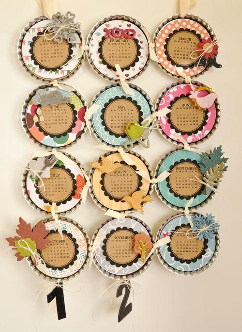 Maya road design team 2012 bottle cap calendar for Bottle arts and crafts