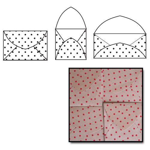 K2216 - Kraft Note Envelopes - Red Polka Dot