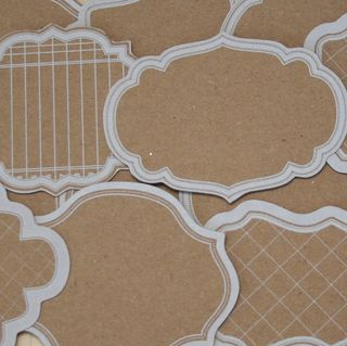 K2052 - Kraft Scroll Frame Journaling Tags - White - Bulk