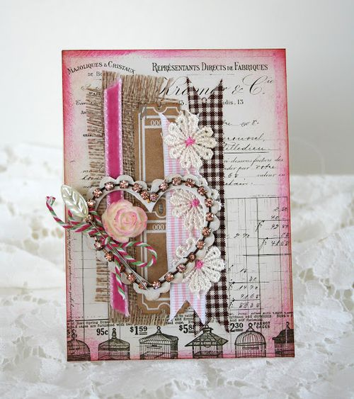 Jewelled heart card