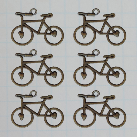 VF2661 - Vintage Heart Bicycle Charms