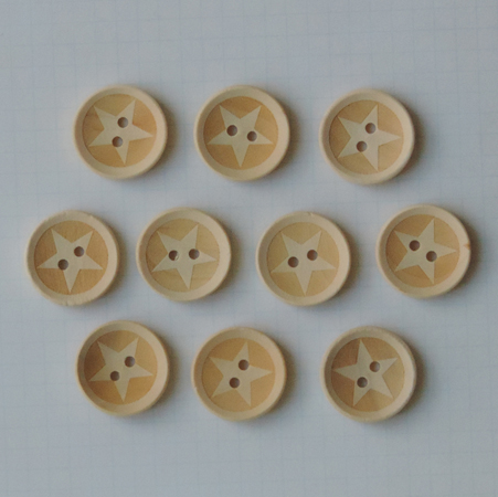 WD2703 - Lucky Star Wood Buttons