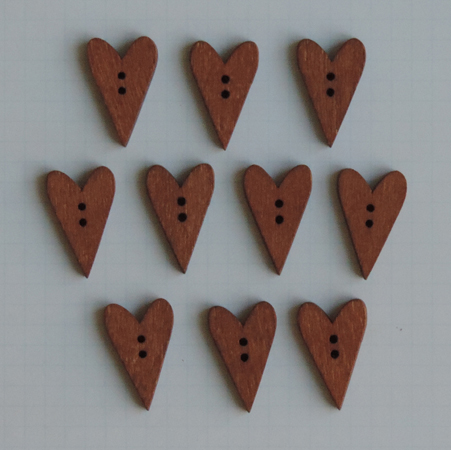 WD2702 - Stained Wood Heart Buttons
