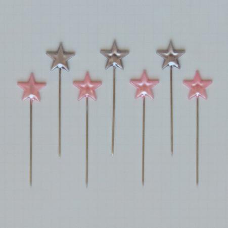 TK2777 - Silver & Pink Star Pins