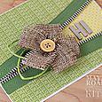 Burlap flower hello card close up by Kimberly Crawford