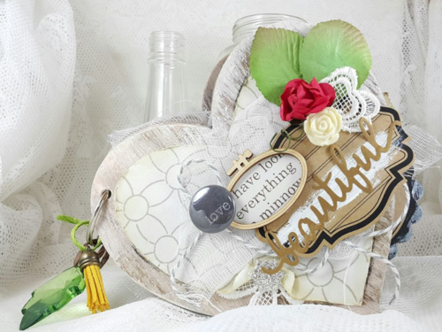 Beautiful Heart Mini Album feautring Maya Road Vintage Beauty Kit and designed by Belly Lau